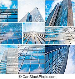 bâtiments., bureau, mur, bureau., résumé, moderne, verre, silhouettes., skyscraper.