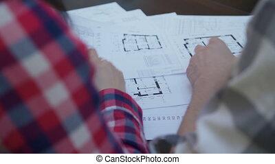 bâtiments., bureau, non, face., deux, architectures, réunion, discuter, plan