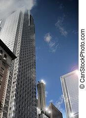 bâtiments, bureau, (shallow, stylisé, éclats (flares), profondeur, field), architectural, cityscape, réflecteur, plusieurs