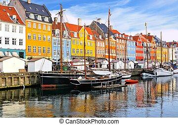 bâtiments, canal, nyhavn, danemark, bateaux, copenhague, ...