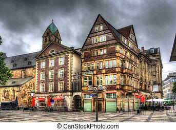 bâtiments, carrée, dortmund, markt, allemagne, changer