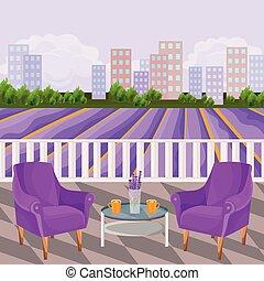 bâtiments, champs fleur, deux, terrasse, fond, violet, rural, vue., fauteuils