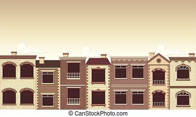 bâtiments, city.