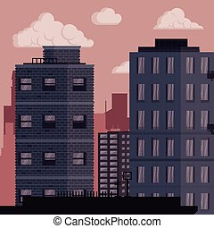 bâtiments, cityscape, soir