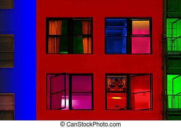 bâtiments, coloré