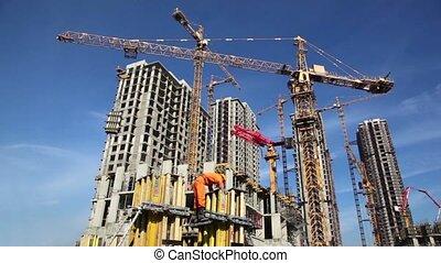 bâtiments, constructeur, haut-ascension, site, contre, construction, fond, travaux