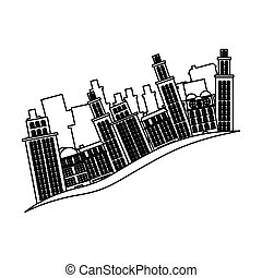 bâtiments, contour, scène, cityscape, côté, icône