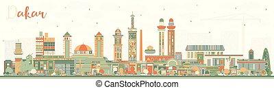 bâtiments., couleur, sénégal, horizon ville, dakar
