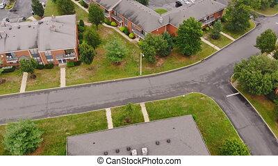 bâtiments, coup, usa, résidentiel, toits, bourdon, aérien, 4k, rivière, autre