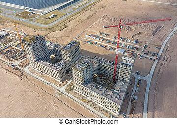 bâtiments, cranes., aérien, résidentiel, sommet, haut-ascension, construction, vue