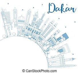 bâtiments, dakar, sénégal, contour, horizon, bleu, copie, space., ville