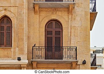 bâtiments, day., ville), (centre, district, ensoleillé, été, central, beyrouth, balcon, une, historique
