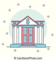 bâtiments, dessin animé, banque