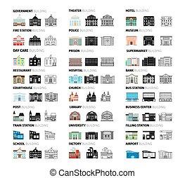 bâtiments, dessin animé, icônes, ensemble