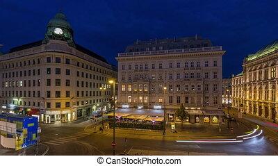 bâtiments, en ville, aérien, timelapse, autriche, carrée, historique, jour, albertina, vienne, nuit