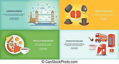 bâtiments, ensemble, affiche, illustration, vecteur, londres, repère, bannière, ou