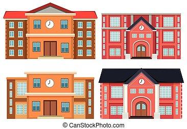 bâtiments, ensemble, extérieur