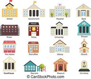 bâtiments, ensemble, gouvernement, couleur, icônes
