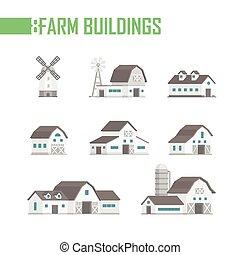 bâtiments, ensemble, icônes, ferme, -, illustration, vecteur, cinq