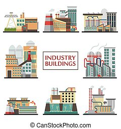 bâtiments, ensemble, industrie, vector.