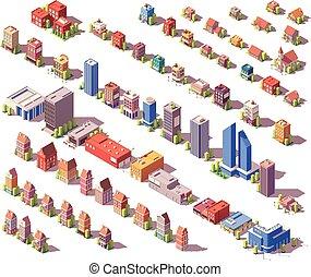 bâtiments, ensemble, isométrique, poly, vecteur, bas