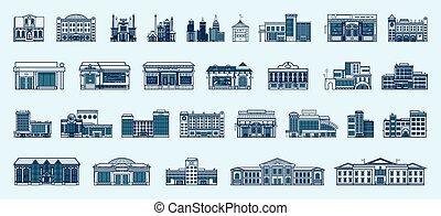 bâtiments, ensemble, linéaire, icônes, isolé, vecteur, architecture, style