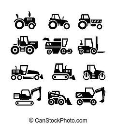 bâtiments, ensemble, machines, ferme, icônes, tracteurs, véhicules, construction