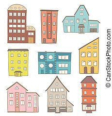 bâtiments, ensemble, moderne, houses., dessin animé, vecteur, retro, blanc, dessin