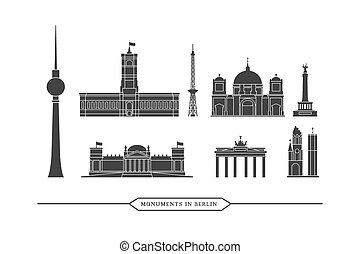 bâtiments, ensemble, monuments, -, célèbre, berlin, vecteur, icône
