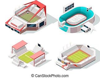 bâtiments, extérieur, images, isométrique, tennis., hockey, stade, football