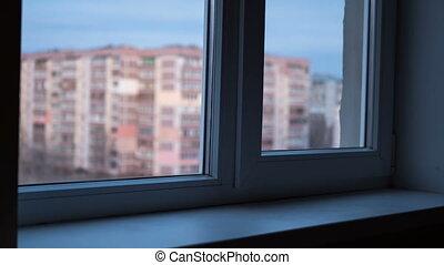 bâtiments, fenetres, haut-ascension, lumières, fenêtre, par, nuit, jour, vue