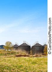 bâtiments, ferme, anglaise, scène, agricultral, machines