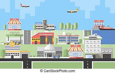 bâtiments, fond, gouvernement