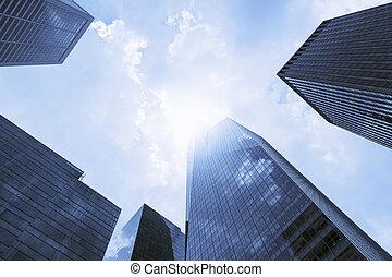 bâtiments, futuriste, bureau