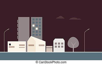 bâtiments, garages, résidentiel, logement, sous, ciel, arbres, sombre, rue, nuit, lampes