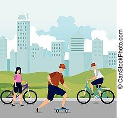 bâtiments, gens urbains, jeune, scène