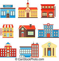 bâtiments, gouvernement, icônes