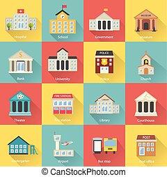 bâtiments gouvernement, icônes, ensemble, à, long, ombre