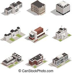 bâtiments gouvernement, isométrique, icônes, ensemble
