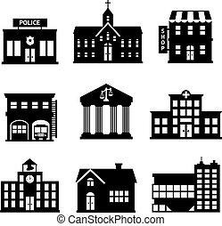 bâtiments, gouvernement, noir, blanc, icônes