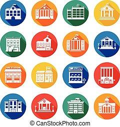 bâtiments gouvernement, plat, icônes