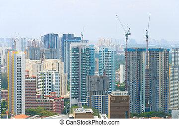 bâtiments, grue construction, singapour, site