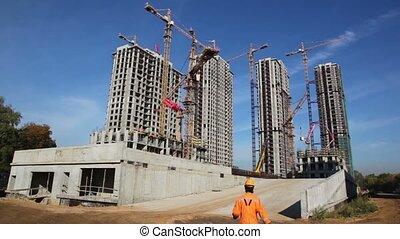 bâtiments, grues, ciel, contre, construction, sous, grand