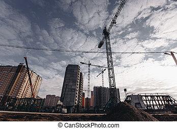 bâtiments, grues, résidentiel, haut-ascension, site, construction, vue