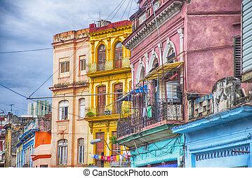 bâtiments, havane, balcons, coloré, cuba