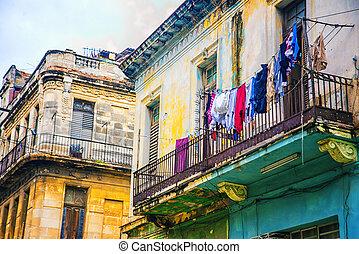 bâtiments, havane, coloré