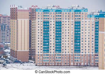 bâtiments, hiver, site, construction, lointain, nouveau, vue