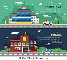 bâtiments, horizontal, gouvernement, bannières, deux