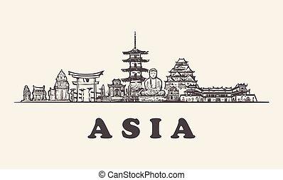 bâtiments, illustration, vendange, asie, main, horizon, vecteur, dessiné