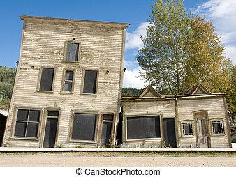 bâtiments, incliné, héritage